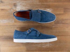 SANTONI blue suede unlined monk sneakers authentic - 10.5 US / 43.5 EU / 9.5 UK