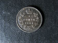 5 cents 1901 Canada small silver coin Queen Victoria c ¢ VF-20