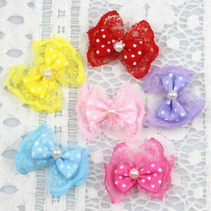 "1.5"" 20/30P Satin Ribbon Organza lace Bow Appliques Handmade Craft DIY Decor"