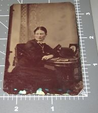 Woman w/ 1870's Stereoview Card Stereoscopic Photographs Vintage Tintype PHOTO