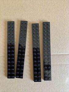 4 X LEGO Black Plate 2 x 16 ( 4282 ) Part ! NEW ! FREE P&P
