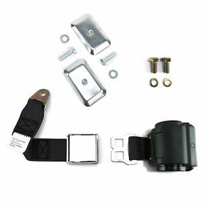 2pt Black Airplane Buckle Retractable Lap Seat Belt w/Plate Hardware
