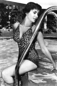 Elizabeth Taylor in leopard skim swimsuit posing by pool ladder 4x6 inch photo
