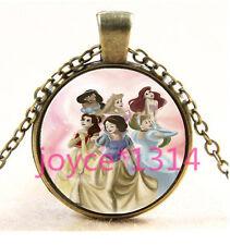 Vintage princess Cabochon Bronze Glass Chain Pendant Necklace TS-3558