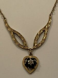 Vintage 9ct Gold Necklace With Small Sapphire & Diamond Heart Drop