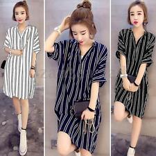 S-5XL ZANZEA Women V Neck Striped Short Sleeve Long Tops Shirt Blouse Mini Dress