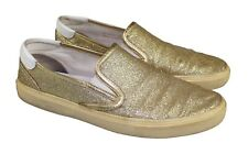 Men's SAINT LAURENT YSL Gold Glitter & Leather Low Top Slip-On Sneakers 42 / 9