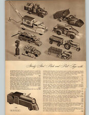 1949 PAPER AD 3 PG Toy Trucks Ride Em Lococmotive Tractor Jeep Dump Fire Wind Up