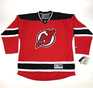 New Jersey Devils Mens 2XL Reebok NHL Official Licensed Hockey Jersey Red Black