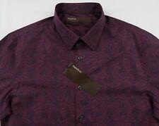 Men's PERRY ELLIS Red Purple Black Paisley Shirt L Large NWT NEW