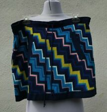 Missoni Women's Blue Zig Zag Pattern Short Skirt Rayon Size L elastic waist