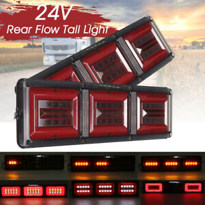 2PCS Trailer Truck Caravan Boat Car Led Rear Stop Tail Light Flow Traffic Lamp