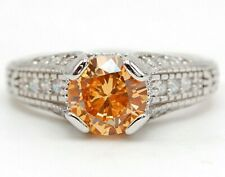 3CT Padparadscha Sapphire & Topaz 925 Sterling Silver Ring Sz 8 M12