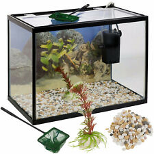 18L Or 26L Glass Aquarium Fish Tank Starter Kit Set Filter Pump Net Plant Stones