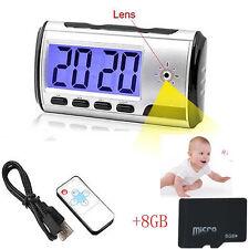 8GB Camera Alarm Clock Mini Video Recorde Hidden Nanny Cam DVR Motion Detection