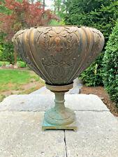 Antique Architectural Bronze Estate Urn Pedestal Planter