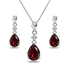 Pear-Cut Created Ruby & White Topaz Sterling Silver Stud Earrings & Necklace Set