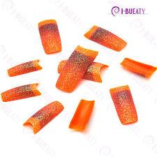 50pcs Acrylic False French Nail Art Glitter Tips translucent Orange Gradient