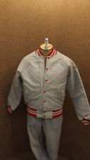 Vtg Eagle Athletic Quilted Nylon Windbreaker Jacket NOS sz SM Gray/Red USA Made