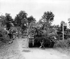 WWII B&W Photo M4 Sherman Tank Heavily Camoflauged   WW2 / 3024