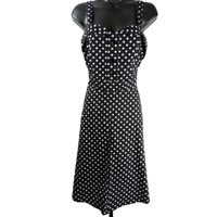 Mlle Gabrielle Black & White Polka Dot Sleeveless Knee Length A-Line Dress Sz L