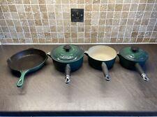 Le Creuset Cast Iron Green Sauce Pans and Lids 18cm and 20cm