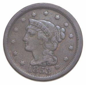 1853 Braided Hair Large Cent - Charles Coin Collection *027
