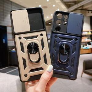 For Samsung S21 S20 FE Note 20 A52 A72 Slide Lens Armor Ring Holder Case Cover