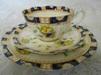ANTIQUE VINTAGE COURT CHINA TEA SET TRIO PURPLE YELLOW PANSYS GILT C1900-1919