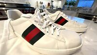 Authentic Gucci Men's Ace Leather White Low Top sneaker  Size US 12