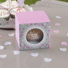 5 Cupcake Muffin Scatole Frills & fuoriuscite Rose Festa Matrimonio Favore ROSA VERDE
