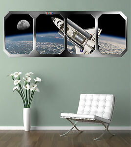 SPACE SHUTTLE ORBITING EARTH  GIANT WINDOW VIEW  POSTER