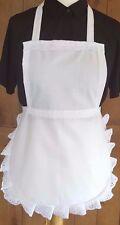 GIRLS WHITE FULL APRON embroidery anglaise VICTORIAN EDWARDIAN MAID  fancydress