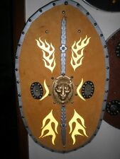 ROMAN PRAETORIAN CAVALRY SHIELD # 4 LEATHER CLAD HARDWOOD.72CMSx 40CMS