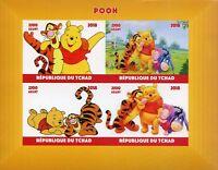 Chad 2018 MNH Winnie the Pooh Bear Tigger 4v IMPF M/S Disney Cartoons Stamps
