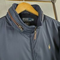 POLO RALPH LAUREN Size XL Calf Leather Trim Zip Out Hooded Jacket Coat Navy Mens