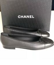 $795 CHANEL 2018 CLASSIC BLACK CAVIAR LEATHER BALLET FLATS 39