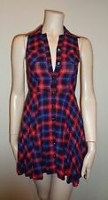 GUESS PURPLE/RED SNAP FRONT SCHOOL GIRL STYLE SLEEVELESS MINI DRESS SIZE 1