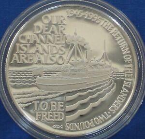 Alderney 2£ Silver Proof 1995 Liberation WW II Freeing the Channel Islands