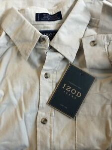 NWT IZOD Corduroy Ivory Cream Long Sleeve Button Front Shirt Youth XL 18 New