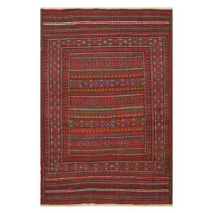 4'6 x 6'4 ft Excellent Afghan Hand Woven Attractive Laghari Wool Kilim Rug -7568