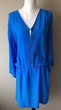 Yumi Kim Women's Blue Silk Tunic Shirt Dress Small See Desc