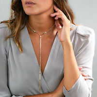 Fashion Jewelry Long Tassel Pendant Metal Sequins Chain Collar Choker Necklace