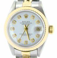 Rolex Datejust Lady 2Tone 18K Gold Steel Watch White Diamond Dial Jubilee 69173