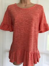 NEW NEXT 14 orange marl slub long party tunic t-shirt frill sleeves peplum hem