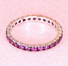 1.16 ct Genuine Pink Sapphire Eternity Ring - 18k White Gold   Gemstone Eternity