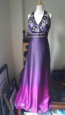 MONSOON Ombre Purple Pink Embellished Halter Neck Maxi Occasion Dress UK10 EU 38