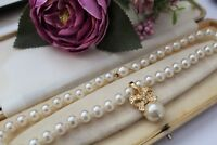 """VINTAGE 1980s 90s SIMULATED PEARL NECKLACE / CHOKER WITH GOLD TONE """"BOW"""" PENDANT"""