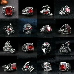 Skull Punk Cool Man Jewelry 316L Stainless Steel Steam Ram Men Ring Gothic Band