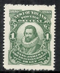NEWFOUNDLAND SCOTT 87b MNH VF - 1910 1c DEEP GREEN ISSUE (F)  CAT $7.50